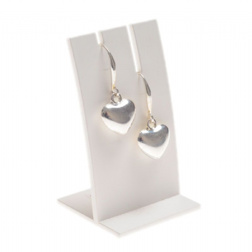 Simple Heart Charm Drop Earrings in Silver
